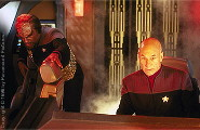 Captain Picard and Worf are fighting against Data